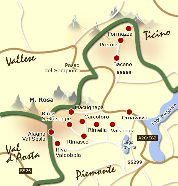 Piemonte Cartina Stradale.Sportelli Walser Carta Geografica